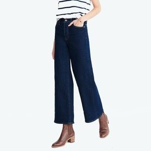 Madewell Dark-Wash Wide-Leg Cropped Jeans